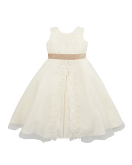 Joan Calabrese Satin & Sequins Dress, Ivory, Sizes 2-10