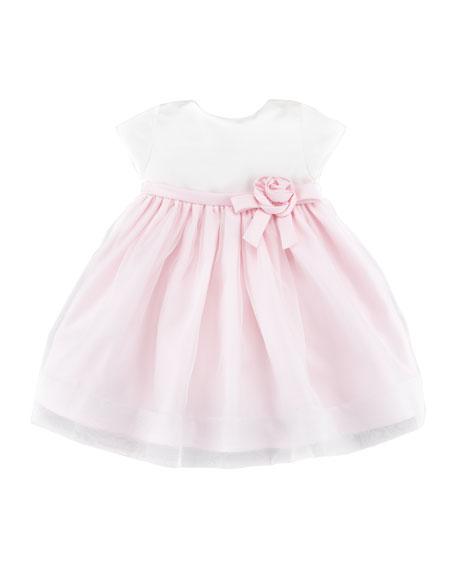 Satin & Organza Short-Sleeve Dress, Light Pink, 6-24 Months