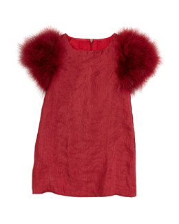 Charabia Feather-Sleeve Party Dress, Red, Sizes 2-4