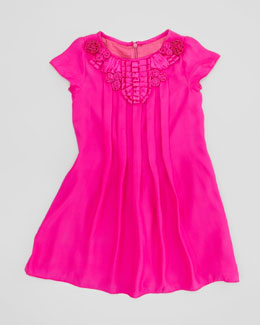 Charabia Pleated Silk Dress, Fuchsia, Sizes 2-4