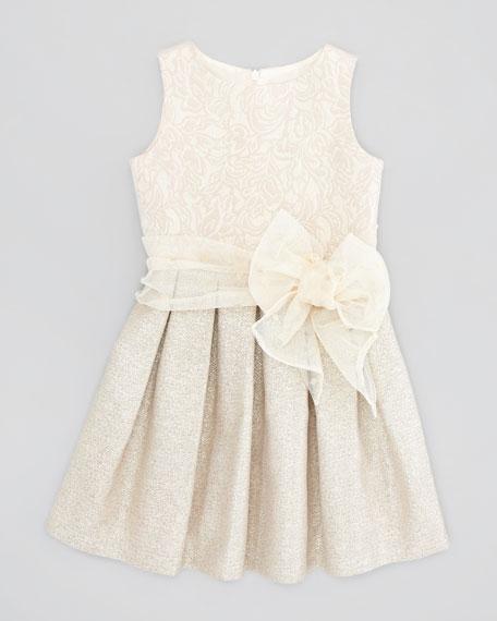 Metallic Brocade Dress, Gold, Sizes 5-8