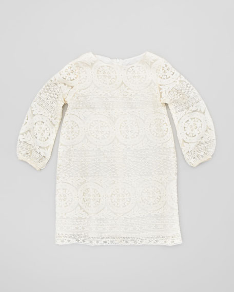 Lace Long-Sleeve Shift Dress, Ivory, Sizes 2-4