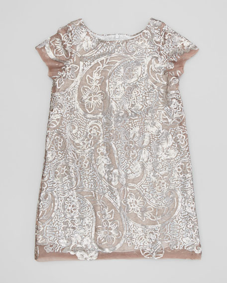 Paisley Sequin Shift Dress, Silver, Sizes 2-4
