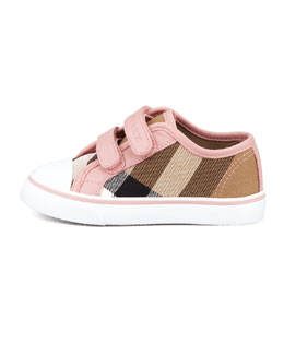 Burberry Check Double-Strap Sneaker, Pink, Toddler
