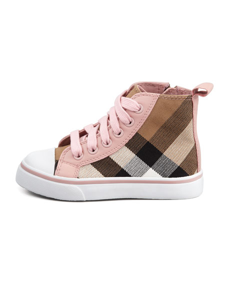 Check-Print High-Top, Pink, Toddler