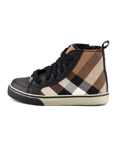 Check-Print High-Top, Black, Youth