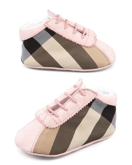 Mock-Lace Check Bootie, Light Pink, Baby