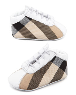 Burberry Mock-Lace Check Bootie, Porcelain White
