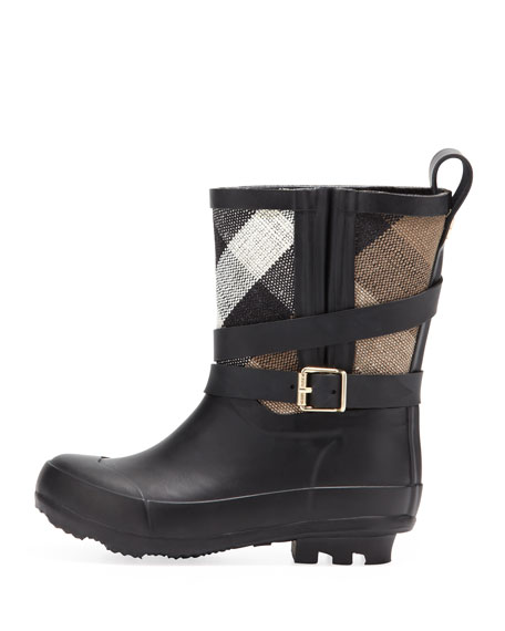 Check Canvas Short Rain Boot