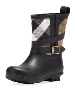 Burberry Check Canvas Short Rain Boot