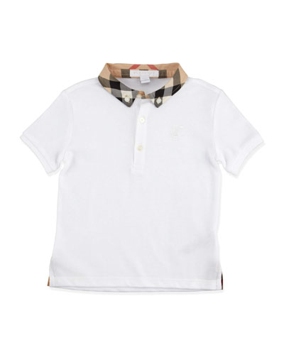 Burberry Check-Collar Polo, White, 2T-3T