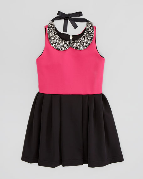 Knit Box-Pleat Dress with Jewel-Collar, Pink/Black, Sizes 2-6