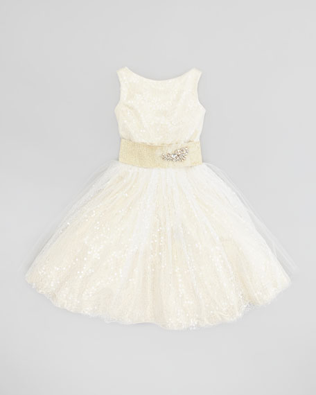 Sequin Overlay Party Dress, Cream Gold, Sizes 2-6