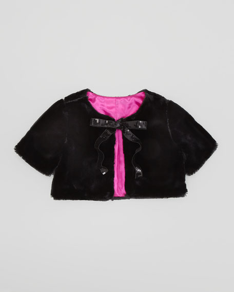 Faux-Fur Cropped Jacket, Black, Sizes 2-6