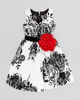 Zoe Flocked-Rose Party Dress, White/Black