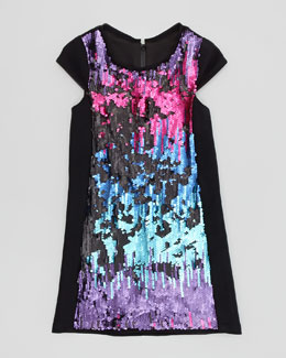 Zoe Ombre Sequin Shift Dress, Multi, Sizes 2-6