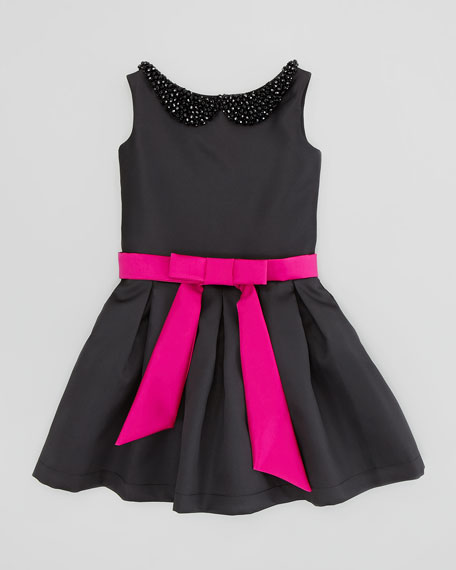 Two-Tone Party Dress, Black/Pink, Sizes 2-6