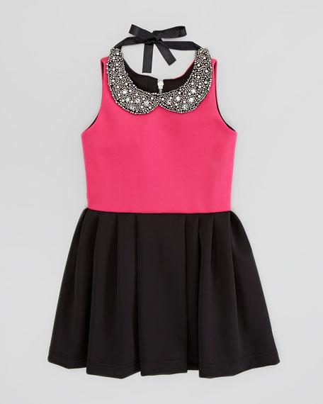 Knit Box-Pleat Dress with Jewel-Collar, Pink/Black, Sizes 8-10