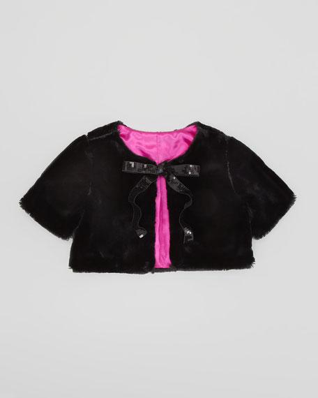 Faux-Fur Cropped Jacket, Black, Sizes 8-10