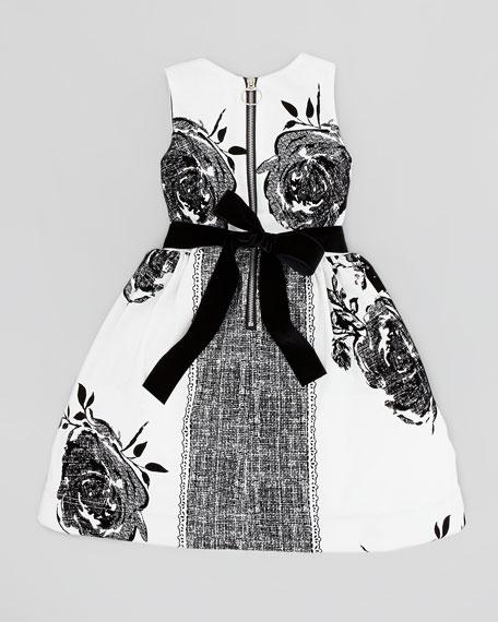 Flocked-Rose Party Dress, White/Black, Sizes 8-10