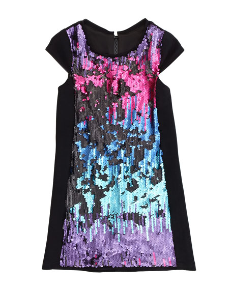 Ombre Sequin Shift Dress, Multi, Sizes 8-10