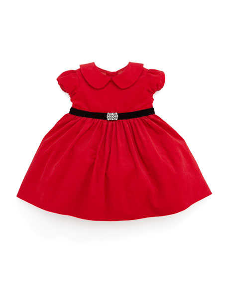 Corduroy Party Dress, Red, 3-9 Months