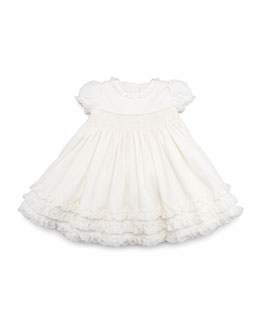 Ralph Lauren Childrenswear Smocked Corduroy Dress, Cream, 3-9 Months