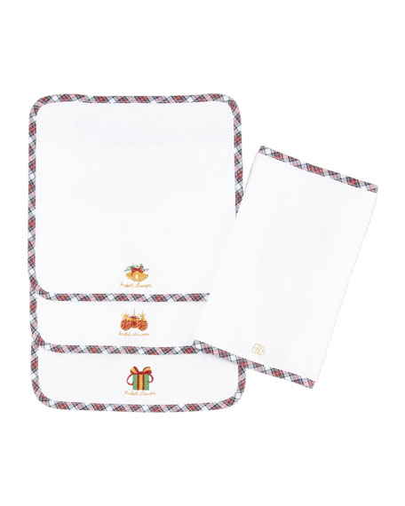 Girls' Tartan Washcloth Set, Red