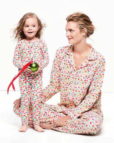 Gumdrop-Print Snug-Fit Pajama Set, Pink, 2T-8