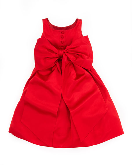 Satin Party Dress, Red, 9-24 Months