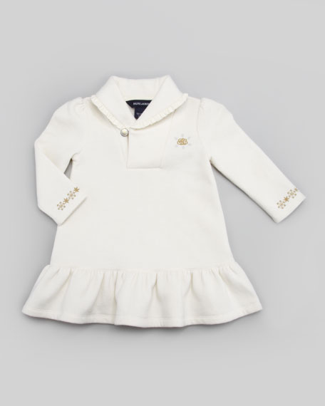 Sampler Fleece Drop-Waist Dress, Cream, 9-24 Months