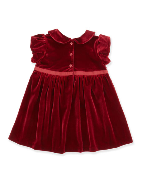 Short-Sleeve Knit Velvet Dress, Red, 9-24 Months