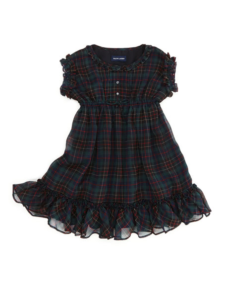 Tartan-Plaid Ruffle Chiffon Dress, Black/Red, 2T-3T