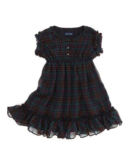 Tartan-Plaid Ruffle Chiffon Dress, Black/Red, 2T-3T