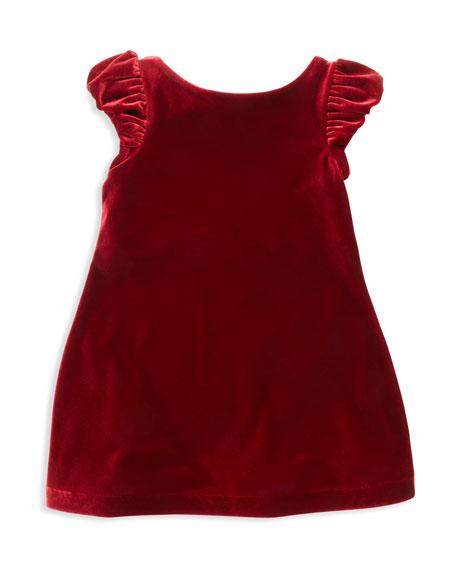 Velvet Puffed-Sleeve Dress, Red, Sizes 2T-3T