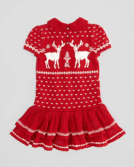 Short-Sleeve Reindeer-Knit Dress, Red, 2T-3T