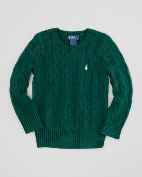 Classic Cable-Knit Cotton Sweater, Green, 2T-3T