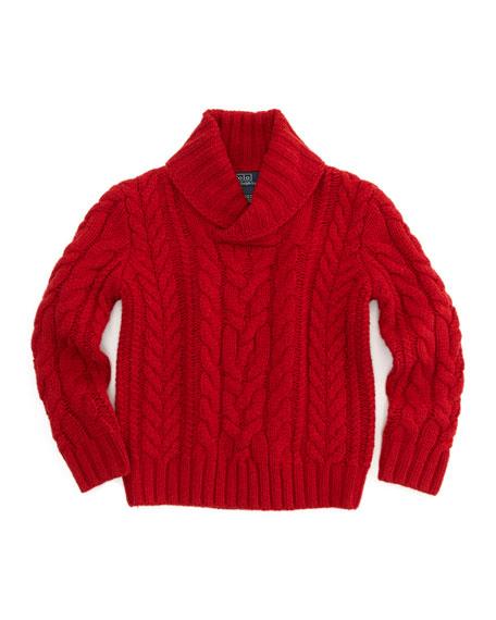 Aran-Knit Shawl-Collar Sweater, Green, Sizes 2T-3T