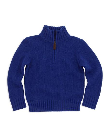Half-Zip Cashmere Pullover, Blue, Sizes 4-7