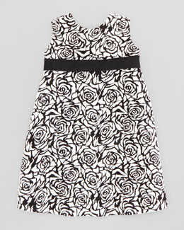 Helena Rose Jacquard Shift Dress, Black/Ivory, Sizes 4-6X