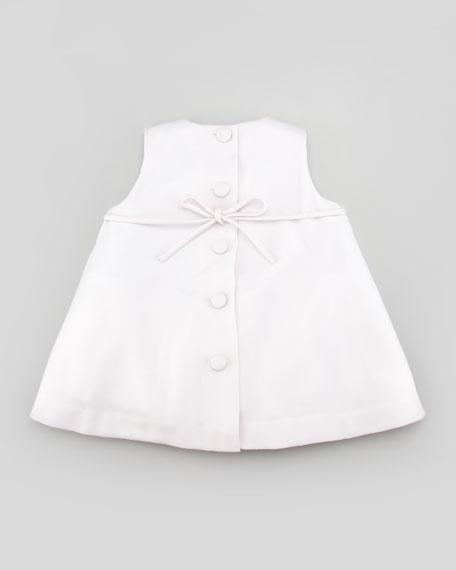 Box-Pleat Wool-Dress with Satin Bow, Lavender, 2T-3T