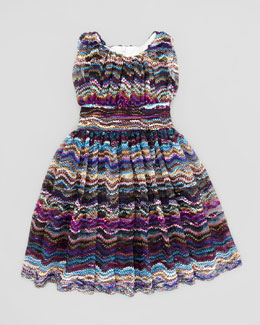 Helena Waves Lace Dress, Blue, 2T-3T