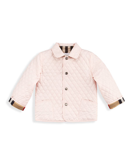 Quilted Nylon Jacket, Ice Pink, 2T-3T