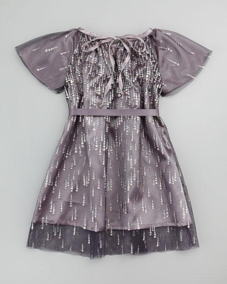 Diamond Tulle Dress, Gray, 2T-3T