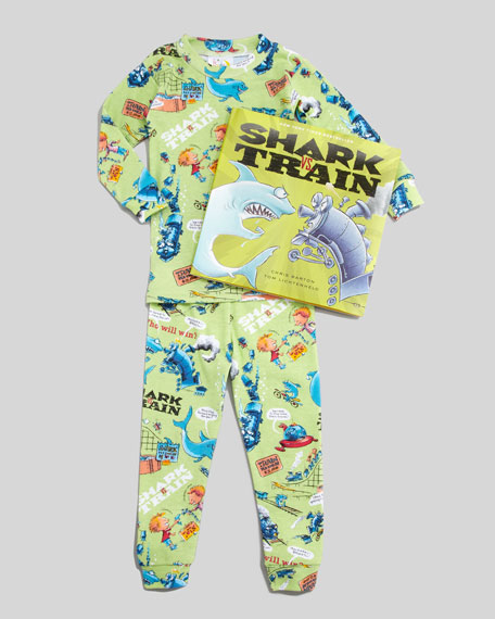 Shark vs. Train Pajamas and Book Set, 2T-3T