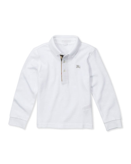 Pique Long-Sleeve Polo Shirt, White, 4Y-10Y