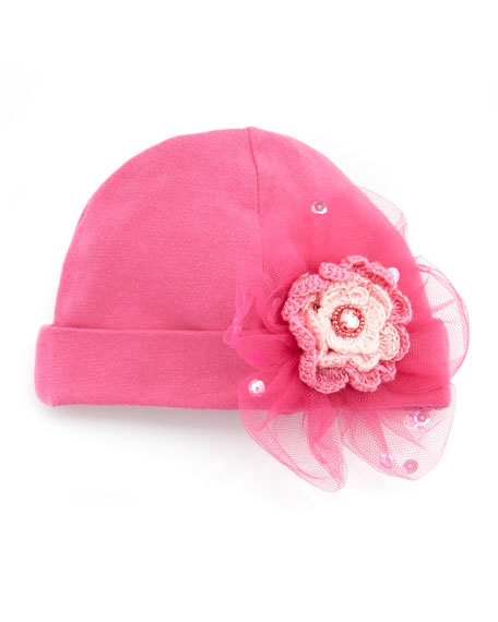 Soho Cute Baby Cap with Rosette, Hot Pink