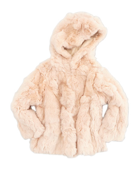 Rex Hooded Fur Coat, Pink