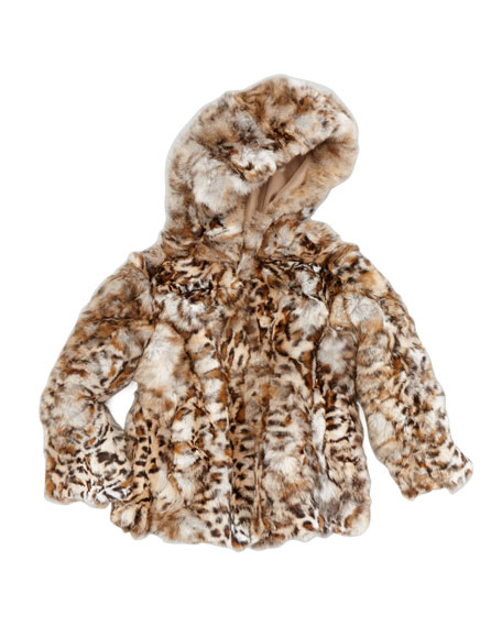 Rex Hooded Leopard-Print Fur Coat