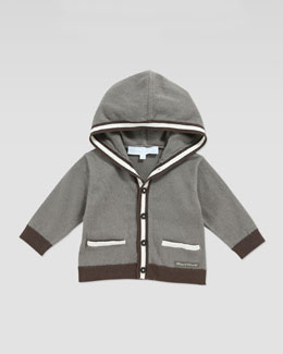Tartine et Chocolat Hooded Colorblock Intarsia Cardigan, Dark Brown, 3-24 Months